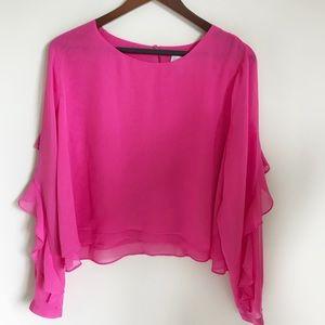 BISOU BISOU Pink Chiffon Ruffle Long Sleeve Blouse